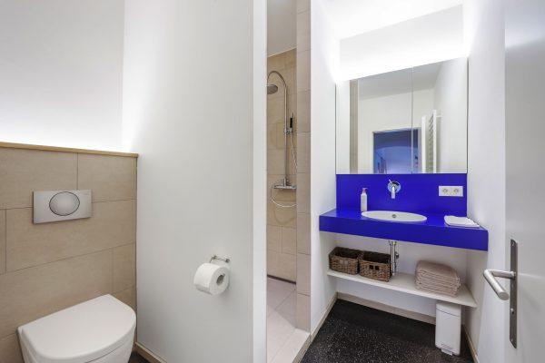 moderne Wohnung mit blauen bad
